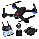 Drone with Camera 720P for Adults, R10 Foldable WiFi FPV RC Quadcopter Altitude Hold, Gesture Photography, APP Control (2 Batteries)