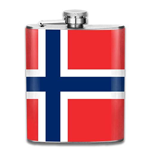 Edelstahlflaschen 7 Unze Norwegische Flagge Whisky Glaskolben Dichtheitsprofil Wein Männer Frauen