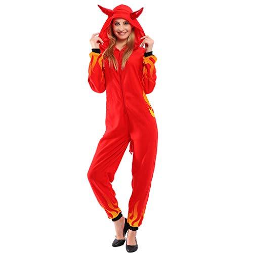 EraSpooky Disfraz de Diablo Rojo para Mujer Disfraces Onesie Cosplay Traje de Fiesta de Halloween para Adultos