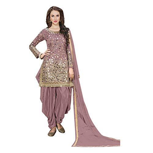 Ethnic Designer Silk Patiala suit Mirror work Salwar Kameez Indian Punjabi Festival 7111