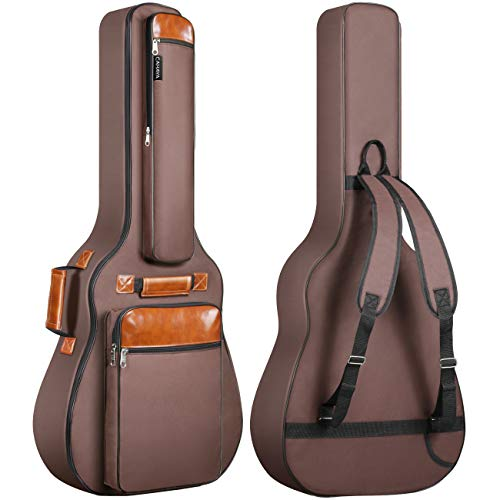 CAHAYA アコギ ギターバッグ 12mmスポンジ 改善 アコースティックギター ソフト ケース リュック型 大容量 6ポケット(サイドポケット 盗難防止ポケットなど) 防水オックスフォード布 肩掛け 手提げ エキゾチックスタイル