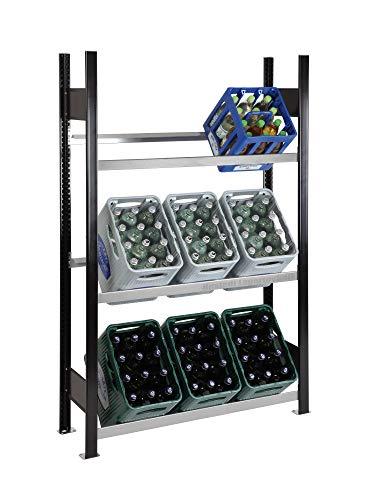 Getränkekistenregal Kastenständer 1800 x 1060 x 300 mm, schwarz/verzinkt, 3 Ebenen, für bis zu 9 Kästen; Industriequalität MADE IN GERMANY