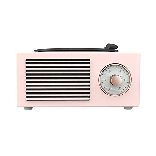 Mirage Altavoz Bluetooth portátil de Carga USB Linda música estéreo Incorporado Micrófono Retro sin Hilos Soporte de Tarjeta de Regalo de Escritorio de Audio MP3 Mini Blanco (Color : Pink)