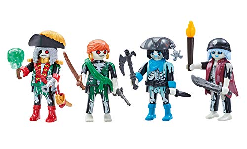 Outletdelocio. Playmobil 6591-6592. Capitan Pirata Fantasma y 3 Piratas Fantasmas. 4 Figuras.