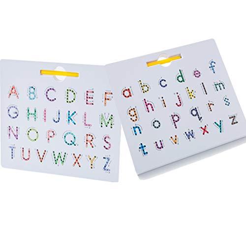 NAIXUE Tablero Magnético De Letras, Tablero De Seguimiento De Letras Mayúsculas Del Alfabeto ABC 2 En 1 Y Tablero De Seguimiento De Números, Tableta De Dibujo Para Aprender a Escribir Con Lápiz Óptico