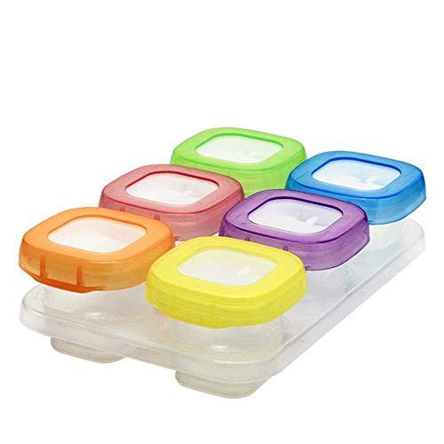 Babybrei Aufbewahrung Babynahrung Einfrieren Behälter,Babynahrung Aufbewahrung,Baby-Nahrungsergänzung Vorratsdose, 100% dicht (6 * 60 ml)