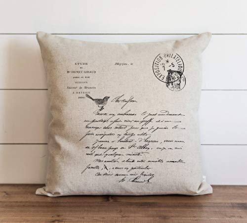 Funda de almohada con letras francesas para el día a día, estilo vintage, para regalo, con cierre de cremallera oculta, para sofá, banco, cama, decoración del hogar, 60 x 60 cm