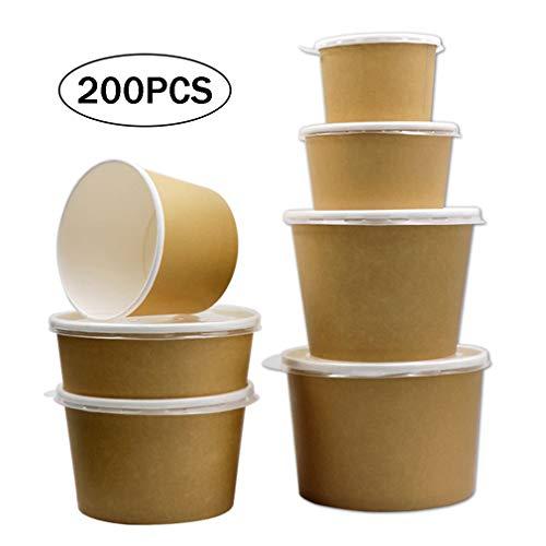 200 Stück Einweg-Kraftpapierschale, Hochwertige, Abbaubare Zellstoff-Brotdose, Mikrowellengeeignete Lebensmittelbehälter Für Abgepackten Brei, Nudeln, Suppe, Reis