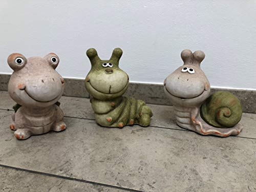 mucplants Gartenfigur aus Ton Schnecke Wurm und Schildkröte Garten Figur Tiere Dekoration