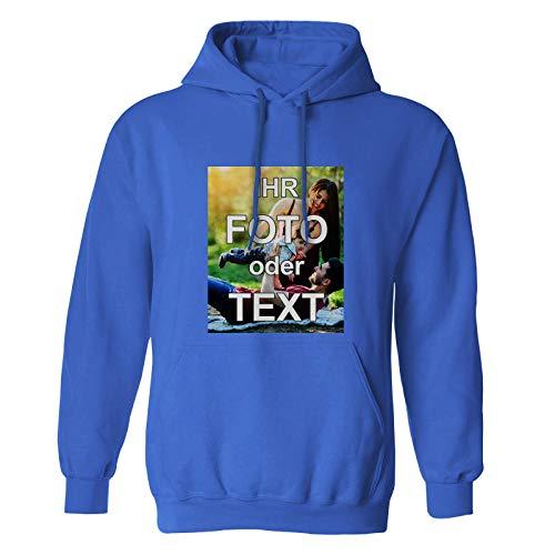 PixiPrints Hoodies Bedruckt mit eigenem Foto Text Logo * Farbe: Blau, Größe: M * hochwertigen Vollfarb-Druck selbst gestalten * Flauschige Qualität