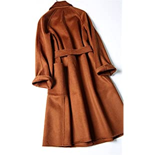 Xuanku Double Faced Tweed Coat; A Water Ripple Coat; A Handmade Lace Length,Xl,Caramel:Interoot