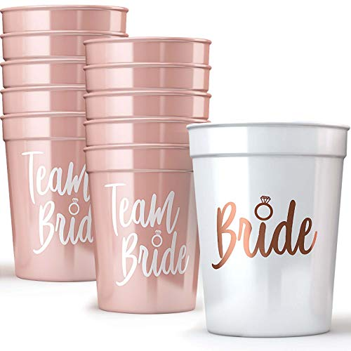 Bride & Team Bride Bachelorette Party Cups (11 Pack) - Bridal Shower Decorations & Party Supplies for The Bride Tribe - Rose Gold & White Eco-Friendly Drinking Cups for Wedding Showers (16 oz)