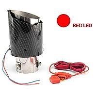 BXU-BG ユニバーサルカーLEDの排気マフラーのチップパイプ赤/青のライト燃えるようなストレートカー修正の単一出口排気管テールの喉 (Color : TYPE A red)