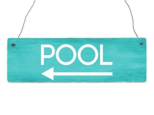 Interluxe Shabby Vintage Schild Türschild Pool Links Türschild Deko Wellness Wegweiser