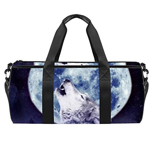 Wolf Howling Bolsa de viaje de lona para gimnasio, deportes, danza, viajes, fin de semana