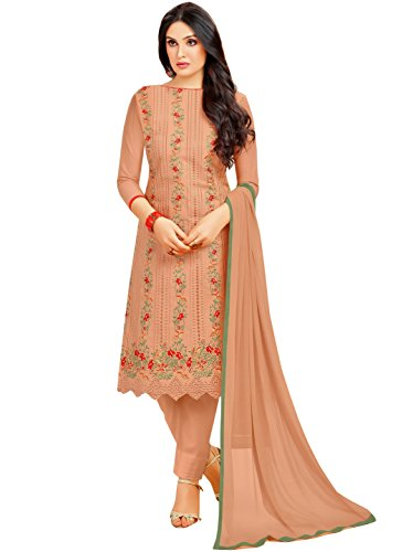 Rajnandini Light Brown Pure Cambric Cotton Embroidered Unstitched Dress Material For Women (Free Size)