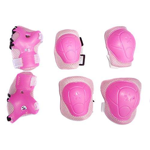 Knieschoner, Ellenbogenschoner, und Handgelenkschoner für Kinder- Außenausrüstung für Skateboarding, Set von 6 Teilen, Rose & Pink