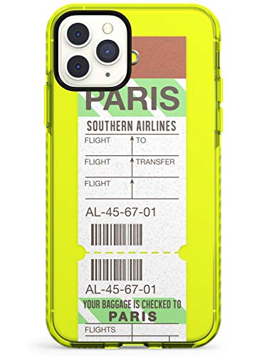 Paris Vintage Baggage Tag Neon Yellow Impact Phone Case for iPhone 11 Pro Max | Protective Dual Layer Bumper TPU Silikon Cover Pattern Printed | Luggage Ticket Wanderlust Travel Pass