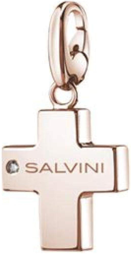 Salvini,ciondolo,charms of love a forma di croce in argento placcato oro rosa(3,5 gr) con diamantino 0.01 ct 20073422
