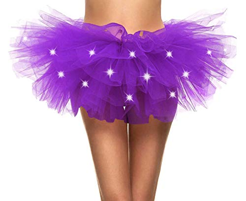Adult's LED Light Up 5 Layered Tulle Tutu Mini Skirt, Purple