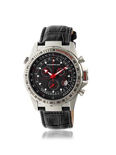 Morphic M36 Series - Orologio cronografo in pelle, Black/Silver/Black/White...