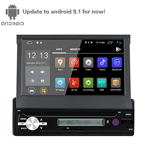 Single din Car Navigation Android 9.1 Motorized Display 7inch Compatible OBD2 TPMS SWC 2G+16G DDR3 1.2G Quad Core Build-in WiFi 7 Color LED Backlight with Remote Control and Mic SC71812G(No DVD)