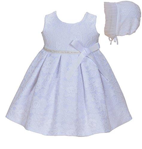 Cinda Baby-Mädchen-Spitze-Tauf-Party-Kleid mit Mütze Weiß 56-62/ 0-3 Monate (Ohne bolero)
