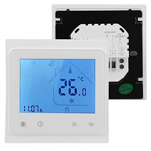 Termostato, dispositivo de control de temperatura con pantalla LCD programable, montaje en pared de alta precisión para control de temperatura, calentamiento de agua(white)