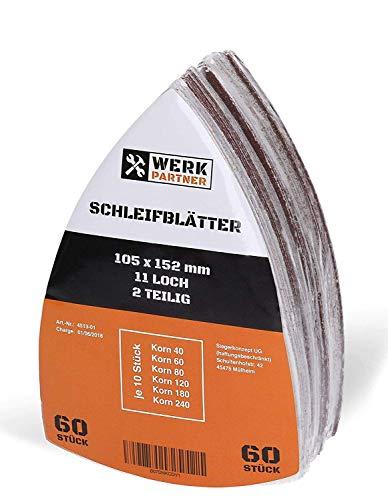 Werk-Partner - Lijas triangulares de 105 x 152 mm, 60 unidades, papel de lija con velcro para madera, plástico, yeso, grano 40/60/80/120/180/240 (10 de cada), para lijadora delta y multilijadora