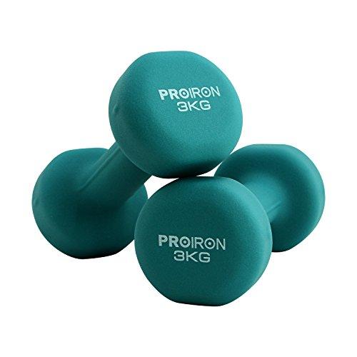 manubri palestra proiron PROIRON Pesi Palestra in Casa Fitness e Palestra Manubri e Pesi Fitness Pesi per Palestra Manubrio (Set di 2) 1-10kg (Verde Scuro-2 x 3KG)