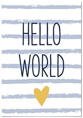 Panorama Dibond Aluminium pour Chambre de bébé ou d'Enfant Phrase Hello World 50x70cm -Imprimée sur Blanc Alu Dibond - Décoration Murale Chambre Enfant - Affiches bébés Enfants - Motif Animaux