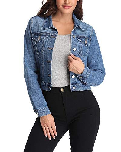 ANIENAYA Blaue Denim Jacken für Damen Jean Mäntel geknöpft Buttoned Down Klassische Mantel Western Taschen Casual Lange Ärmel Plain Outwear - L