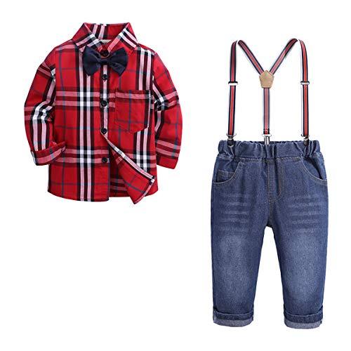 Baby Gentleman pak Lente en Herfst Jongens Gentleman Set, Plaid shirt met lange mouwen + Jumpsuit Jeans 2-delige set, Geschikt voor kinderen 3-8 jaar oud