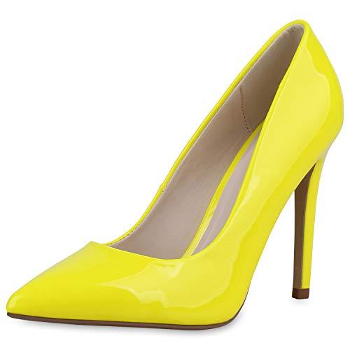 SCARPE VITA Damen Spitze Pumps Stiletto Party Schuhe High Heels Lack Absatzschuhe Elegante Abendschuhe 182900 Neon Gelb Lack 36