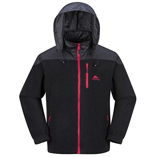 Cox Swain Herren Fleece Jacke Trail (Titanium Series), Colour: Black/Red Zipper, Size: L
