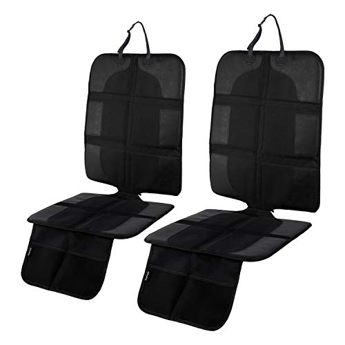 Car Seat Protector Under Car Seat 2 Pack, Ohuhu Non-Slip Car Seat Protector for Baby/Child Car Seat, Seat Cover for Carseats Dog Mat Vehicle Cover with Organizer