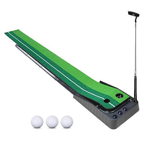 YOLEO Puttingmatte Golf Übungsmatte Golfmatte Putting Green Putten Puttingset Indoor Outdoor mit 1 Schlägern und 3 Bällen
