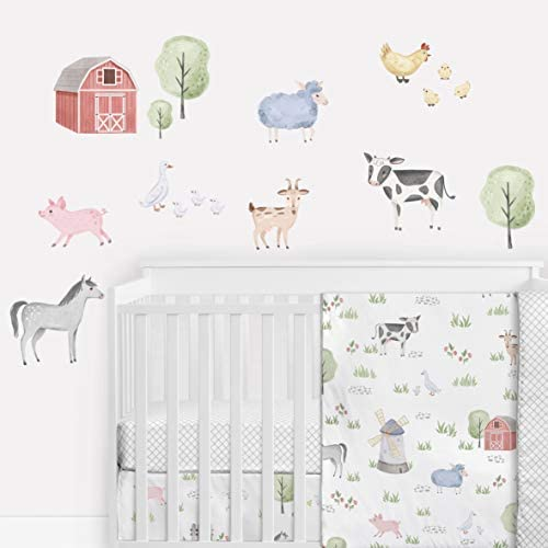 Sweet Jojo Designs Farm Animals Large Peel and Stick Wall Decal Stickers Art Nursery Decor Mural product image