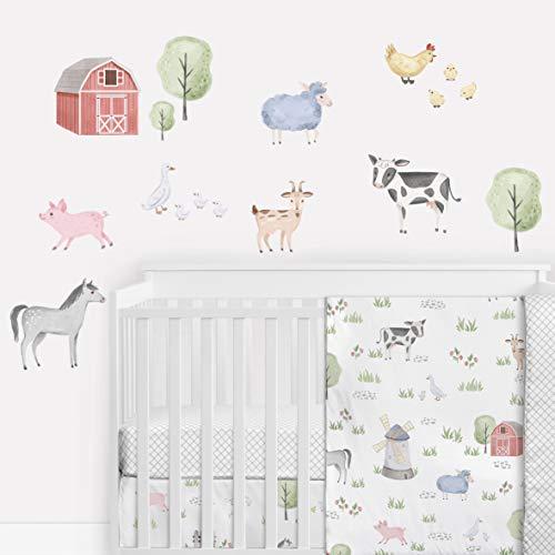 Sweet Jojo Designs Farm Animals Large Peel and Stick Wall Decal Stickers Art Nursery Decor Mural - Set of 4 Sheets - Watercolor Farmhouse Barn Horse Cow Sheep Pig Chicken Sheep Goat Barnyard