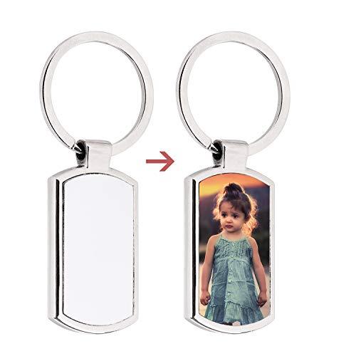 Personalisierter Schlüsselanhänger mit Fotogravur Metall Schlüsselring Schlüssel Anhänger mit Wunschbild Freunde Familie Liebhaber Individuelles Fotogeschenk für Jahrestag Valentinstag Geburtstag