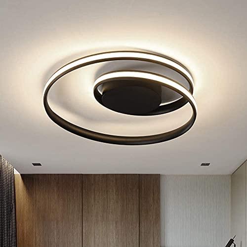 Chandelier Lámpara de techo LED, lámpara de techo regulable moderna, lámpara de techo LED redonda de 18 '', lámpara de techo de montaje empotrado, lámpara de araña negra acrílica para comedor, cocina,
