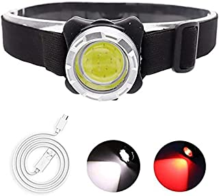 Linterna frontal recargable USB de 60000 lúmenes, linterna frontal COB roja / blanca superbrillante, liviana a prueba de a...