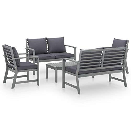Tidyard Conjuntos Sofa Exterior Patio Muebles de jardín 5 pzas Cojines Gris Madera Maciza de Acacia