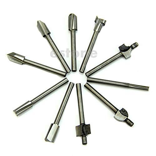 10x 1/8' Shank HSS Router Rotary HSS Woodworking Drill Bits Set New
