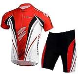 Cycling Gear for Men Cycle Jersey Set Full Zipper Bike Ride Shorts Men Bicycle Suits Race Road Biking M US Red