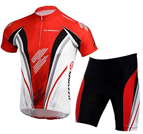 Bicycle Jersey Pants Cycling Shirt Short Sleeve Breathable Man Clothes Bike Cushioned Shorts Biking Tops US XL US Red