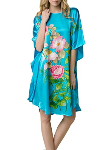 prettystern - 100% del camisón Kimono de Seda Pintado a Mano con Pintura China - YBS103 Azul Turquesa Rosas en Flor