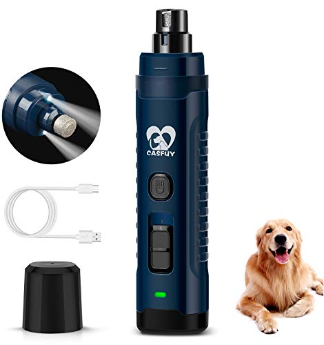 Casfuy Dog Nail Grinder with 2 LED Light - [Enhanced 4.8V Motor 3X More Powerful] 2-Speed Rechargeable Electric Pet Nail Trimmer for Medium Large Dogs Quiet Painless Paws Grooming & Smoothing Tool