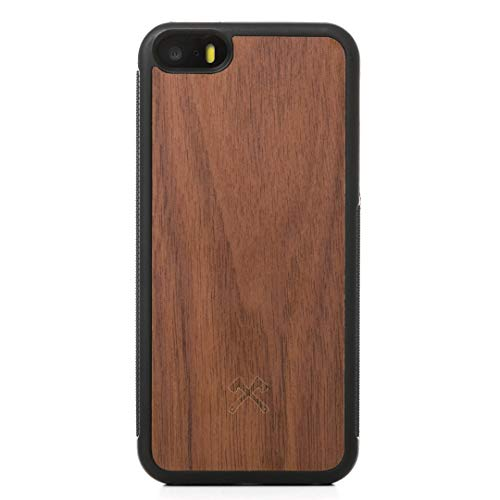 Woodcessories - Hülle kompatibel mit iPhone 5 / 5s / SE (2016) aus Holz - EcoBump Case (Walnuss)