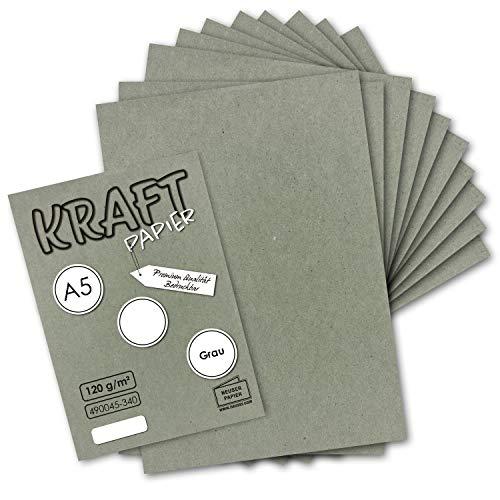 50 Blatt - Vintage Kraftpapier in Grau DIN A5 120 g/m² graues Recycling-Papier - 21 x 14,8 cm - 100% ökologisch Brief-Bogen - Briefpapier - NEUSER PAPIER